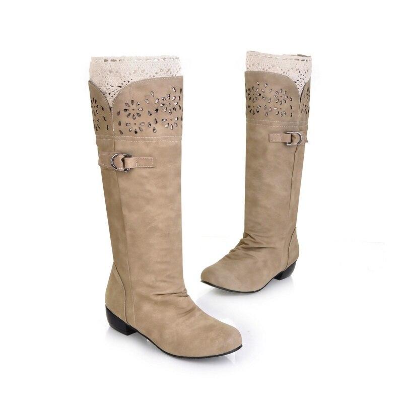 43 Largo grey Boot Zapatos Hueco Plisado Del Mujer La Bajo Crochet Rodilla Señora black yellow Cordón Flor Beige Talón Casual Slip Botas Hasta Cuero On Mujeres RSxaZZ