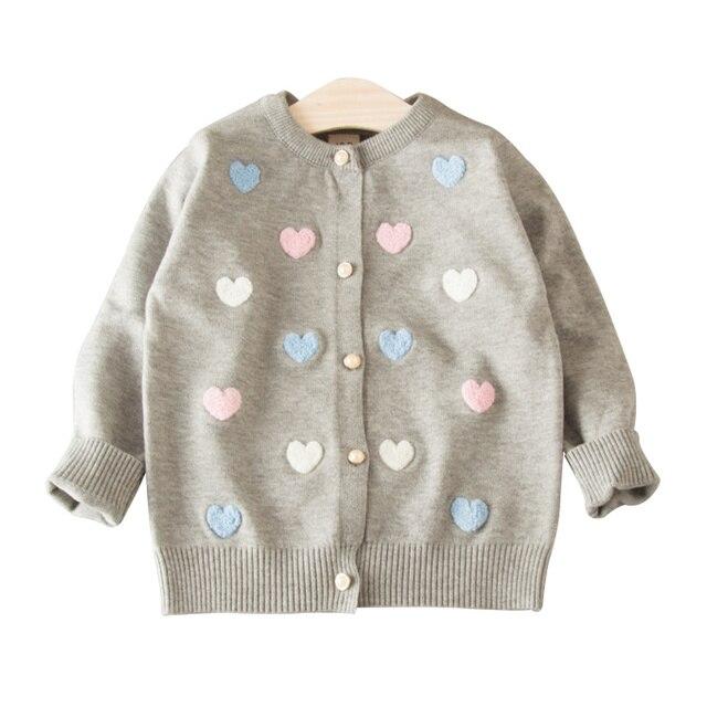b904051afa78 Suéter Cárdigan para niñas corazón algodón sólido suéter abrigo para niña  de manga larga cuello redondo
