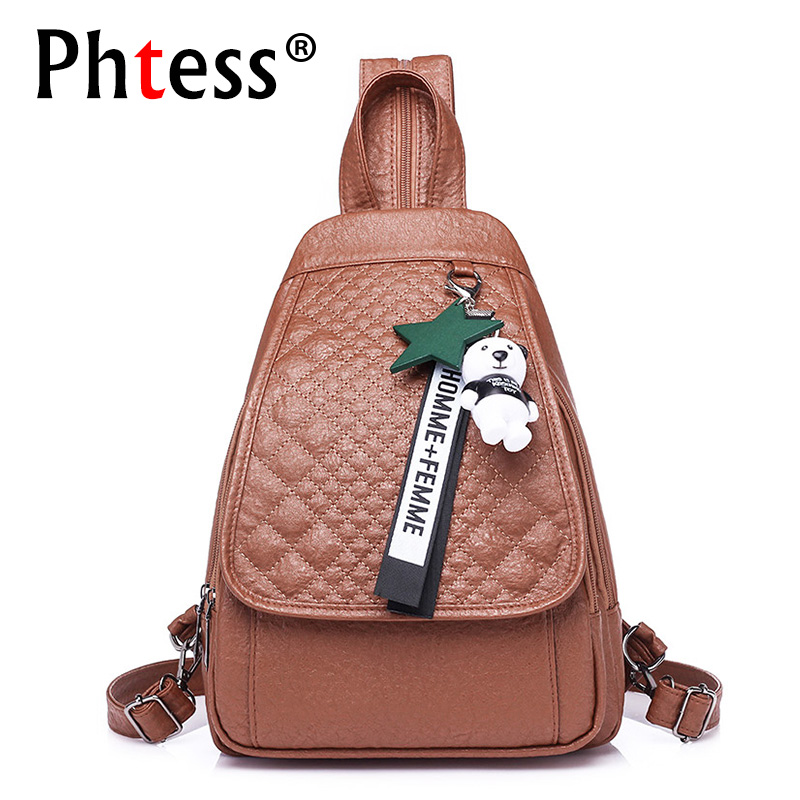 2018 Small Solid Leather Backpacks Female School Shoulder Bags Vintage Backpack For Girls Mochilas Women Pu Back Pack Ladies