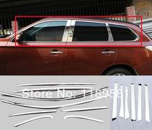 For Mitsubishi Outlander 2013 2014 2015 Stainless Steel All Window Frame Trim !