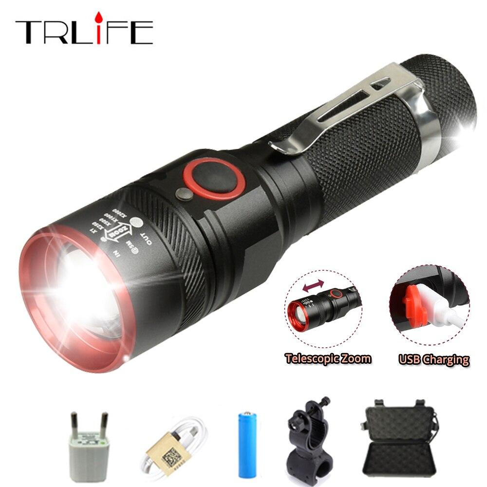 6000 lumen USB Aufladbare T6 LED Taschenlampe Lampe Laterne 18650 Power Erinnerung Wasserdichte LED Fahrrad-Licht Aluminium