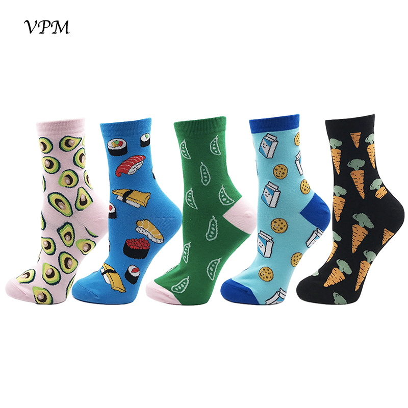 VPM GIFT BOX Winter Autumn Warm Women Socks Colorful Cartoon Cute Food Milk Fruits Lovely Funny Socks (5 pairs / lot )