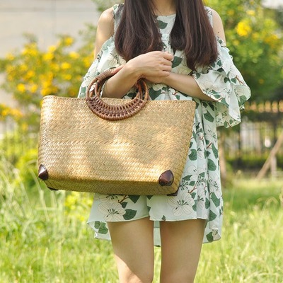Nice National Women Small Shopping Casual Totes!Fashion Lady Travel Solid Straw bags Hot Versatile Sandy beach Top-handle bagsNice National Women Small Shopping Casual Totes!Fashion Lady Travel Solid Straw bags Hot Versatile Sandy beach Top-handle bags