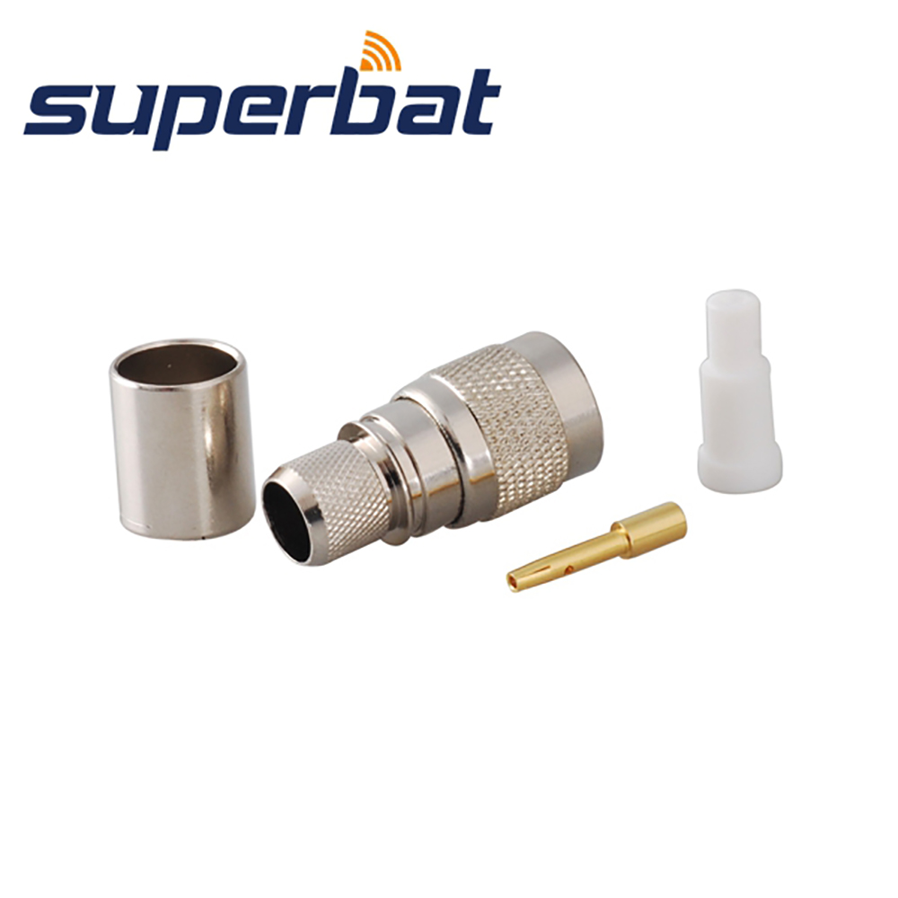 Superbat 10pcs RP-TNC Crimp Male Plug(Female Pin) RF Coaxial Connector For Cable RG8 RG213,RG214,LMR400