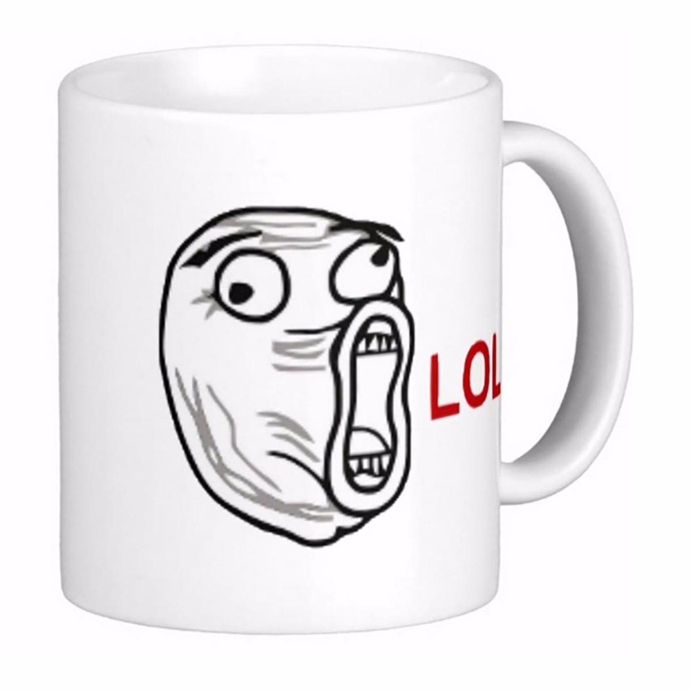 Lol Laugh Out Loud <font><b>Rage</b></font> Face Meme Travel White Coffee mugs Tea Mug Customize Gift By LVSURE Ceramic <font><b>Cup</b></font> Mug Travel Coffee Mugs