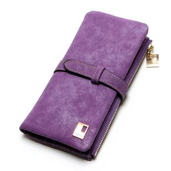 Women's Nubuck Leather Wallet Bags and Wallets Hot Promotions New Arrivals Women's Wallets Color: Purple