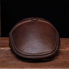 HL027 New Design Men's 100% Genuine Leather Cap /Newsboy /Beret /Cabbie Hat цена
