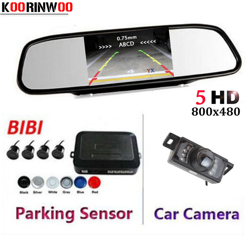 Koorinwoo 2018 Dual Core Auto Parktronic 5 inch Mirror Monitor 7 Lights Car Rear View Camera Car Parking Sensors 4 Radar System double cpu 4 car parking system kit sensors with led display