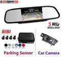 Koorinwoo Dual Core CPU Auto Parktronic 5 Inch Mirror Monitor 7 Lights Car Rear View Camera Car Parking Sensors 4 Radars System