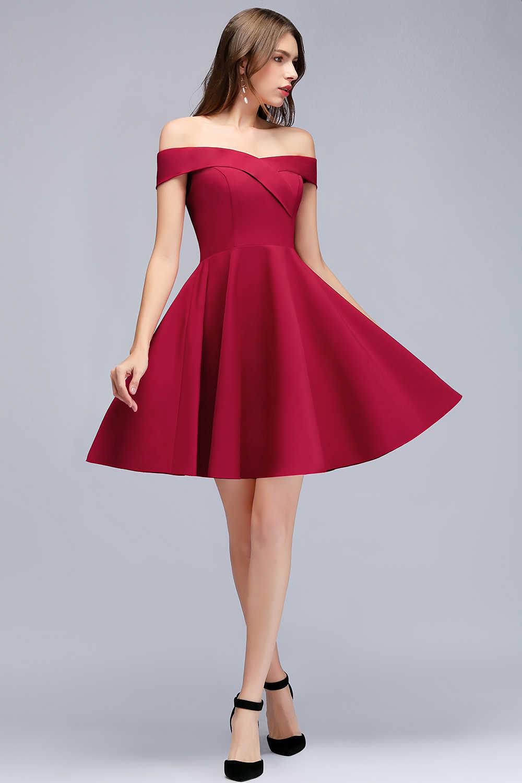 00f059943d7 ... Babyonline блестящее платье с открытыми плечами бордовый короткие  коктейльные платья 2019 Платья для вечеринок без рукавов
