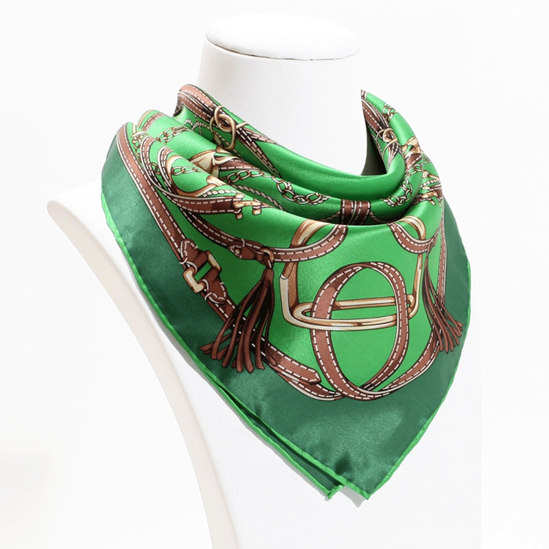 Fashion Belts Print 100% Silk Bandana Neckerchief Women Luxury Hand Roll Small Square Silk Scarfs   Wraps   Head   Scarves   53x53cm NEW
