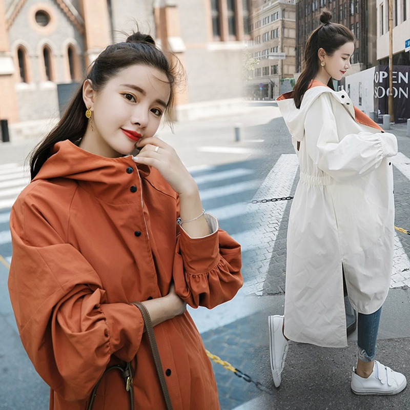 Outerwear Trench-Coats Spring Womens Windbreakers Hooded Female Autumn Korean Long New