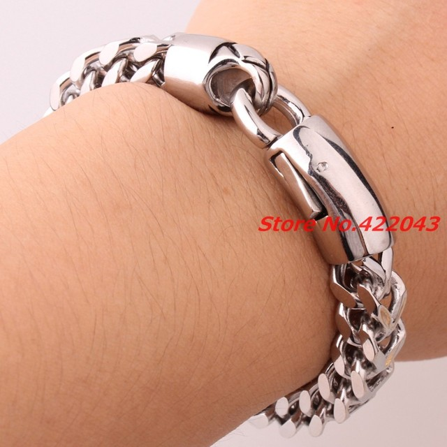 "8.85"" 316L Stainless steel bracelet for men unisex jewelry Silver Polished bangles pulseira masculina Figaro Chain ,High Quality"