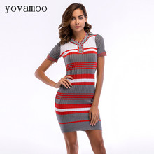 Yovamoo 2018 Vintage Women's Knitted Dress Summer Striped Color Block Short-sleeved Tight Fitting Casual Pencil Bodycon Dresses casual striped color block dress