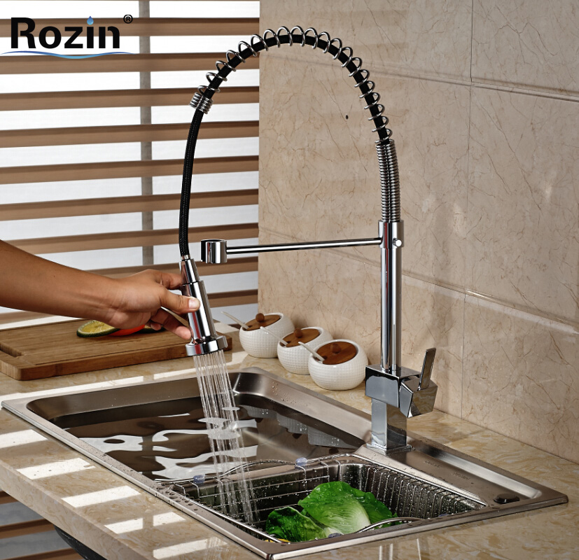 Chrome fFinishes Spring Pull Down Kitchen Sink Faucet Swivel Spout Kitchen Mixer Taps with Hot and Cold Water ouboni high quality chrome finished pull out spring kitchen faucet swivel spout vessel sink mixer taps