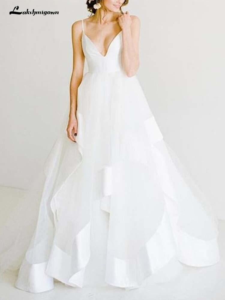White Wedding Dresses V Neck Spaghetti Straps Backless White Long Wedding Dresses with Train