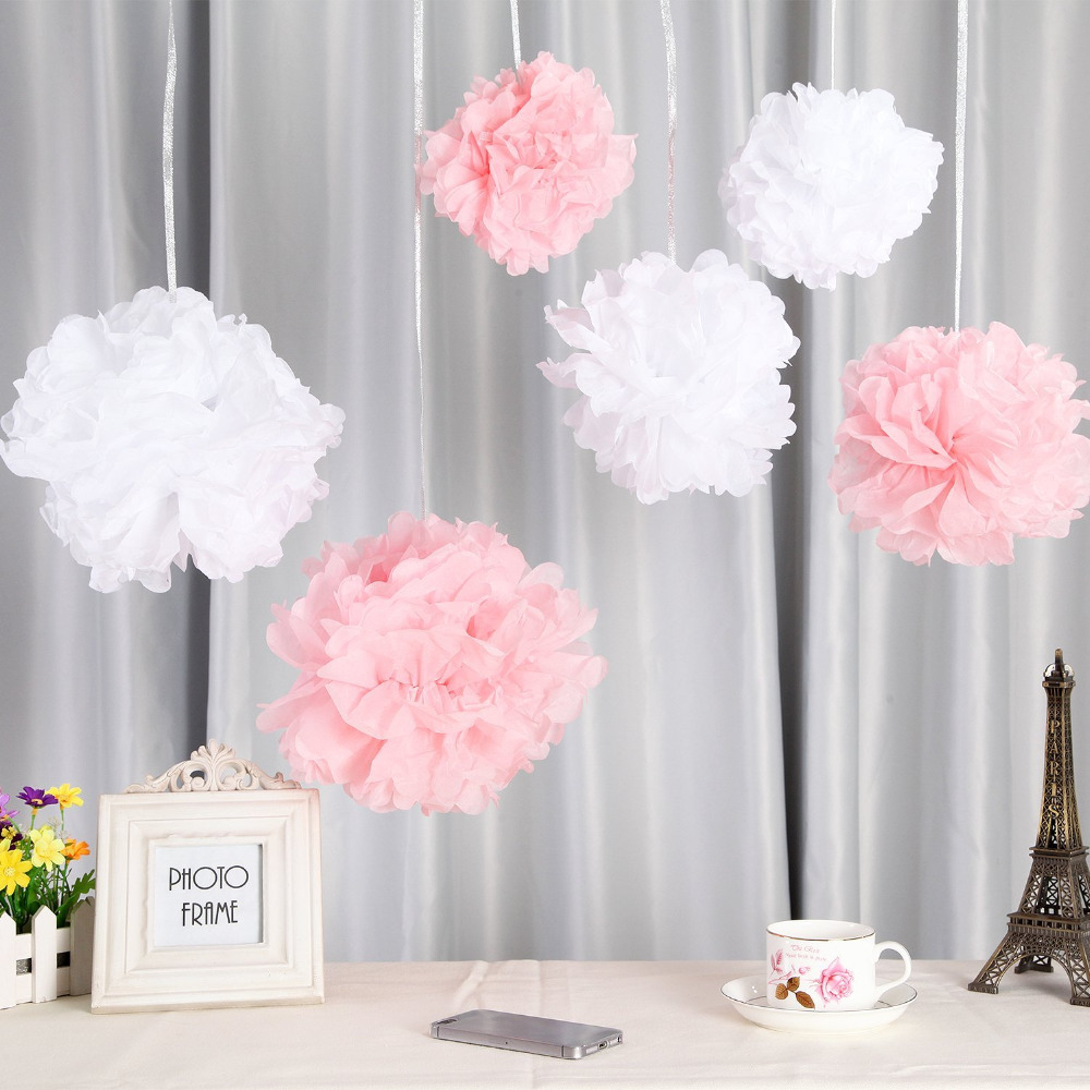 6 Pack 12inch Tissue Paper Flowers Crafts White and Pink Pom Poms ...
