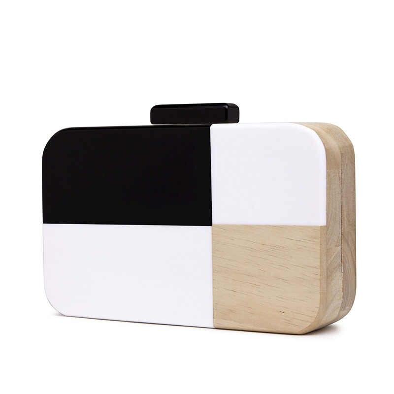 Тканая сумка в стиле пэчворк черно-белая деревянная вечерняя сумка женские клатчи на день кошелек для дам женские вечерние сумки на плечо 2019