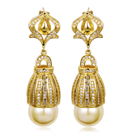 5 Color Latest Tread 18k Gold Plated Setting 236 Pcs CZ Crystal Long Water Drop Earrings