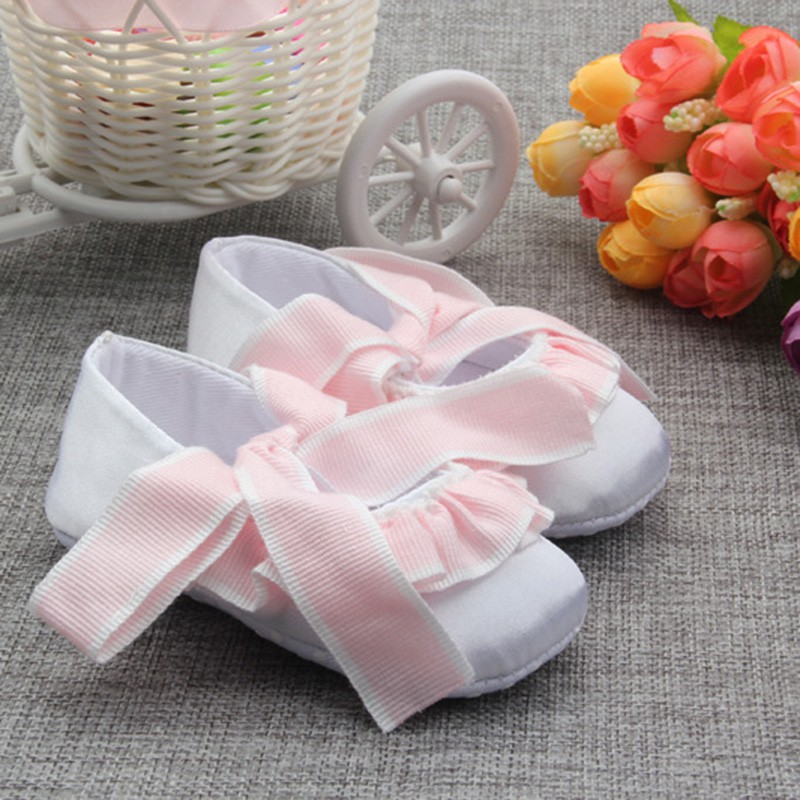 Spring Summer Baby Girls Pink Bowknot First Walkers Infant Pre Walkers Non-slip Shoes