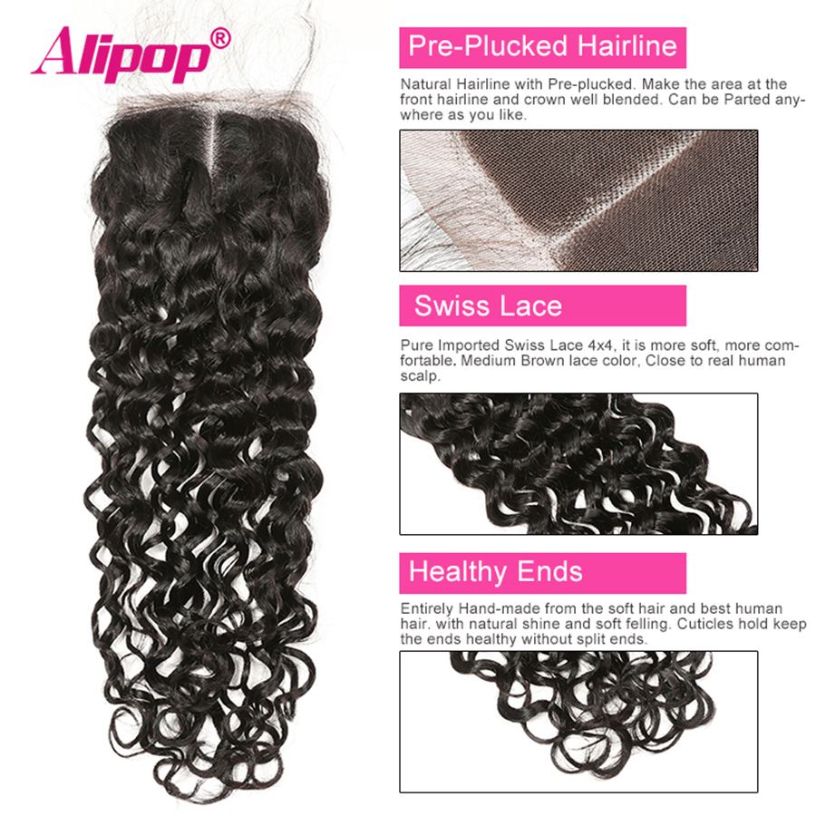Alipop 5x5 Lace Closure Water Wave Closure Brazilian Hair MiddleFree3 Part 10-18 20 Inches Preplucked Remy Human Hair Closure (21)