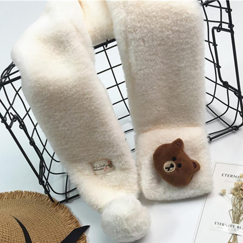 Bär Puppe Kinder Lic Schals Mit Dekoration Jungen Pelz Kragen Schals Mädchen Mode Winter Schal Kinder Samt Warme Ring Schals