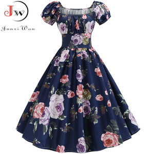 Image 5 - Plus Size Summer Dress Women Puff Sleeve Swing Vintage Dresses Robe Femme Elegant Floral Print Pin Up Party Dresses Jurken