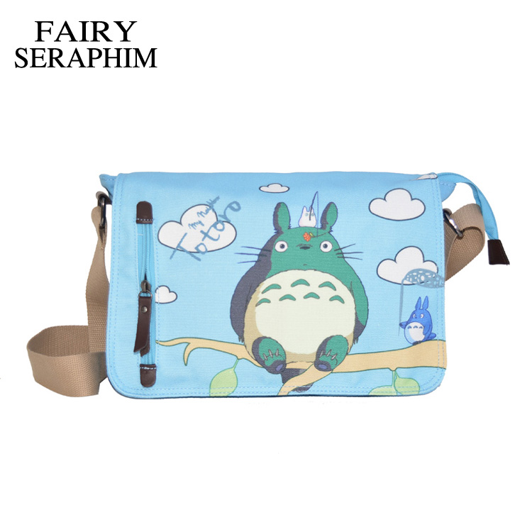 FAIRY SERAPHIM Anime My Neighbor Totoro Messenger Canvas Bag Shoulder Bag Cute Printing Blue Totoro Bag Teenagers Schoolbag anime my neighbor totoro printing