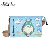 Anime My Neighbor Totoro Messenger Canvas Bag Shoulder Bag Cute Printing Blue Totoro Bag Cosplay Teenagers
