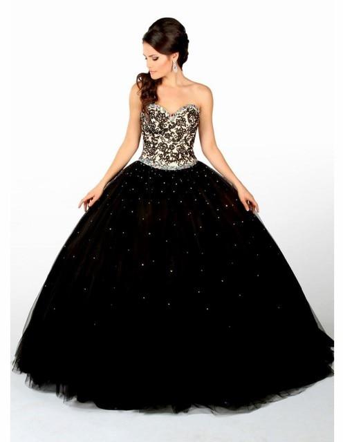 Vestidos De 15 Anos Lace Puffy Party Dress 2016 Black Quinceanera