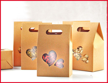 10cm*15.5cm Kraft Paper Stand Up Bags With Heart Window Nuts Packaging Bags 100pcs/lot Free shipping