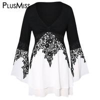PlusMiss Plus Size 5XL Lace Crochet Vintage Long Blouse Women Large Size Flare Sleeve Tunic Tops Female Spring XXXXL XXXL XXL
