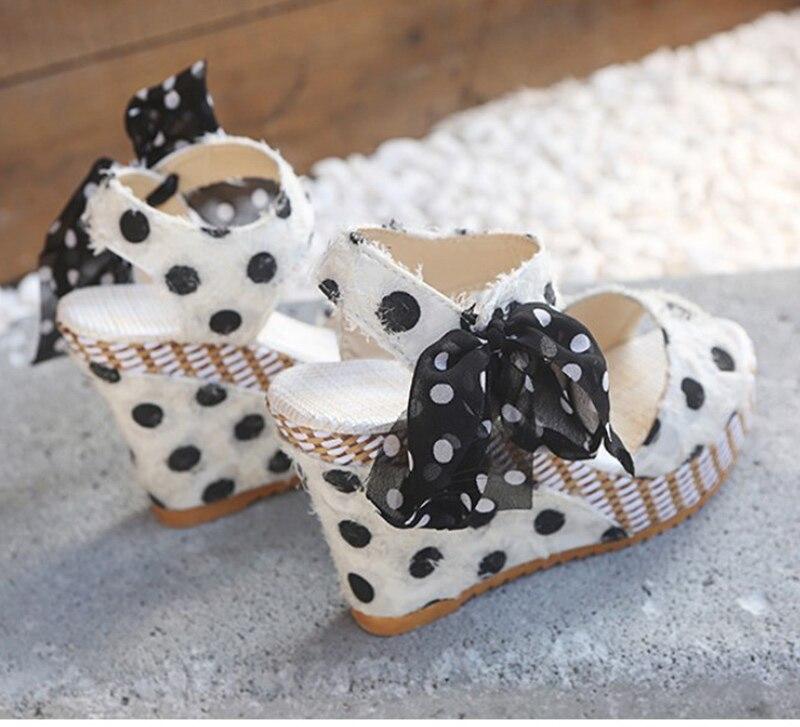 HTB1IlEfXLWG3KVjSZFgq6zTspXay Women Sandals Dot Bowknot Design Platform Wedge Female Casual High Increas Shoes Ladies Fashion Ankle Strap Open Toe Sandals