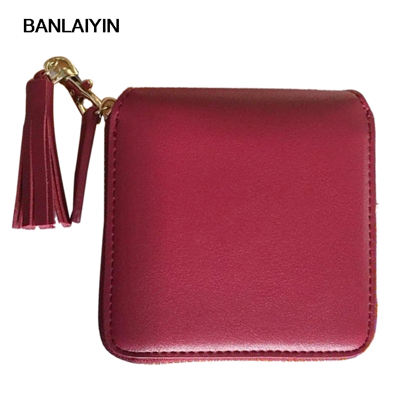 Top Quality Square Women Coin Purses Holders wallet,leather Female Money Designer Tassel Wallets Famous Brand Women Wallet