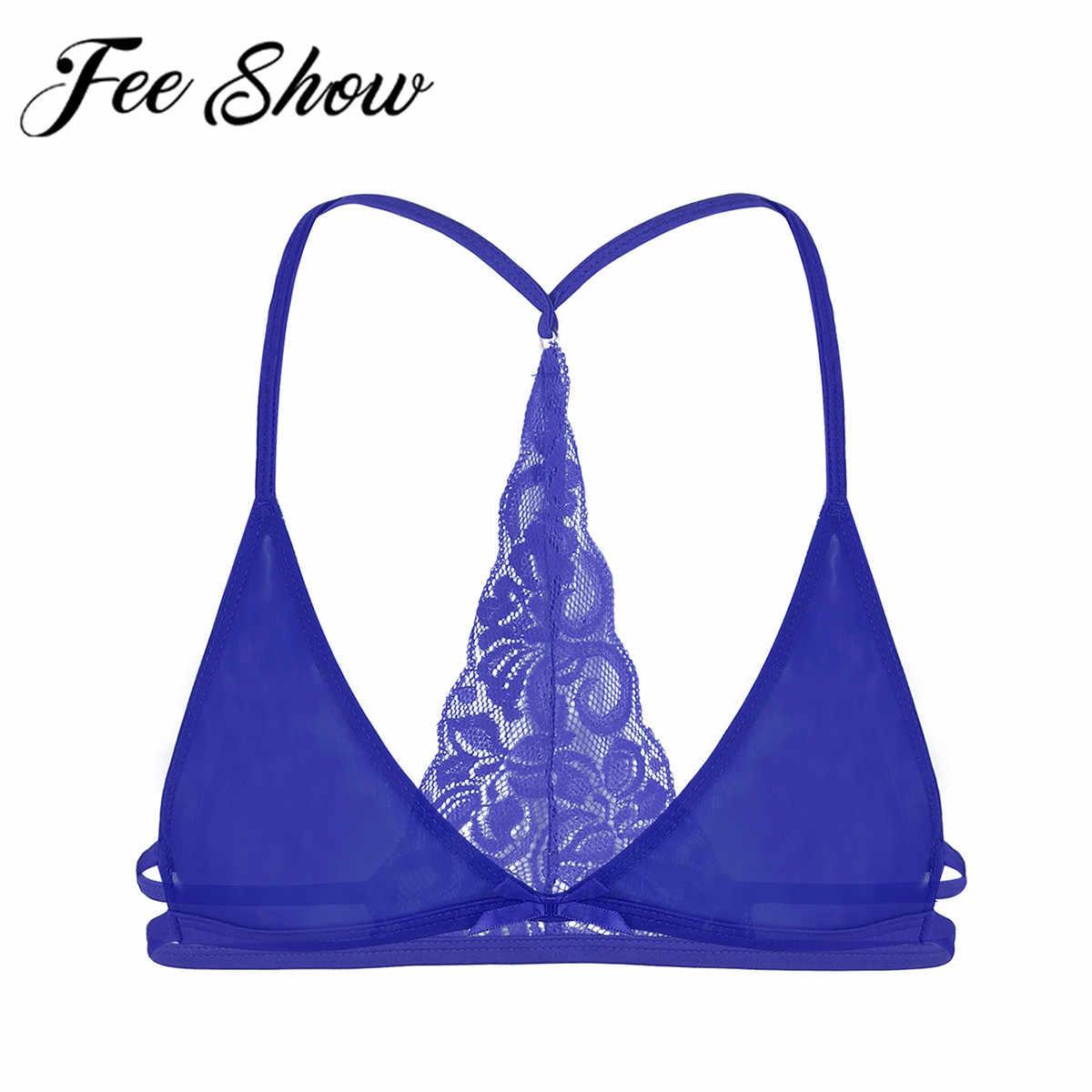 FEESHOW Mens See Through Sheer Lace Sissy Girly Bikini Bra Panties Set Underwear