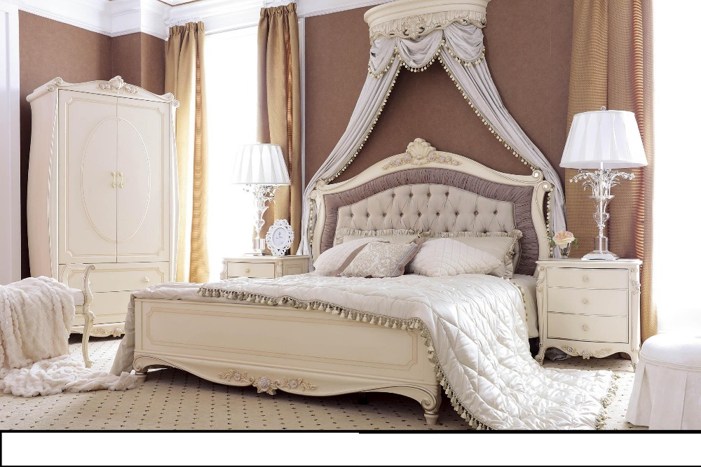 new classic king size bed set villa home furniture - Cheap King Size Mattress
