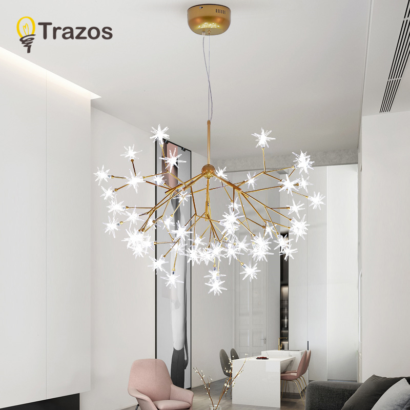 Modern stylish Golden Chandeliers led crystal light European style light for for dining room living room bedroom with LED Bulb