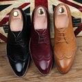 Moda brockden pu comercial casual masculino homens sapatos tendência de baixa-top dedo apontado oxfords sapatos de salto praça carve