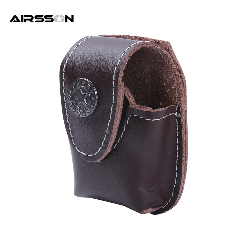 Tactical Waterproof Leather Zippo Lighter Mini Pouch Waist Bag with Belt Clip Brown Durable Waist Zippo Pouch Case Unique