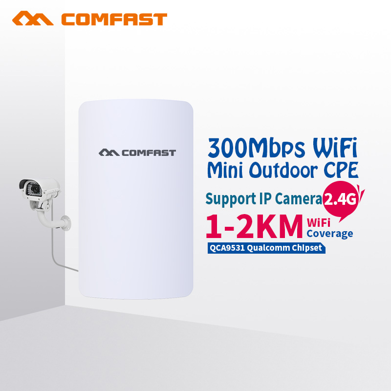 COMFAST 300mbps outdoor CPE wifi router mini wireless bridge 2.4ghz for transmission project 1-2km long range amplifier CF-E110N mt7621 800mhz wifi project manager router comfast ac200 wifi roming gigabit ac authentication gateway router