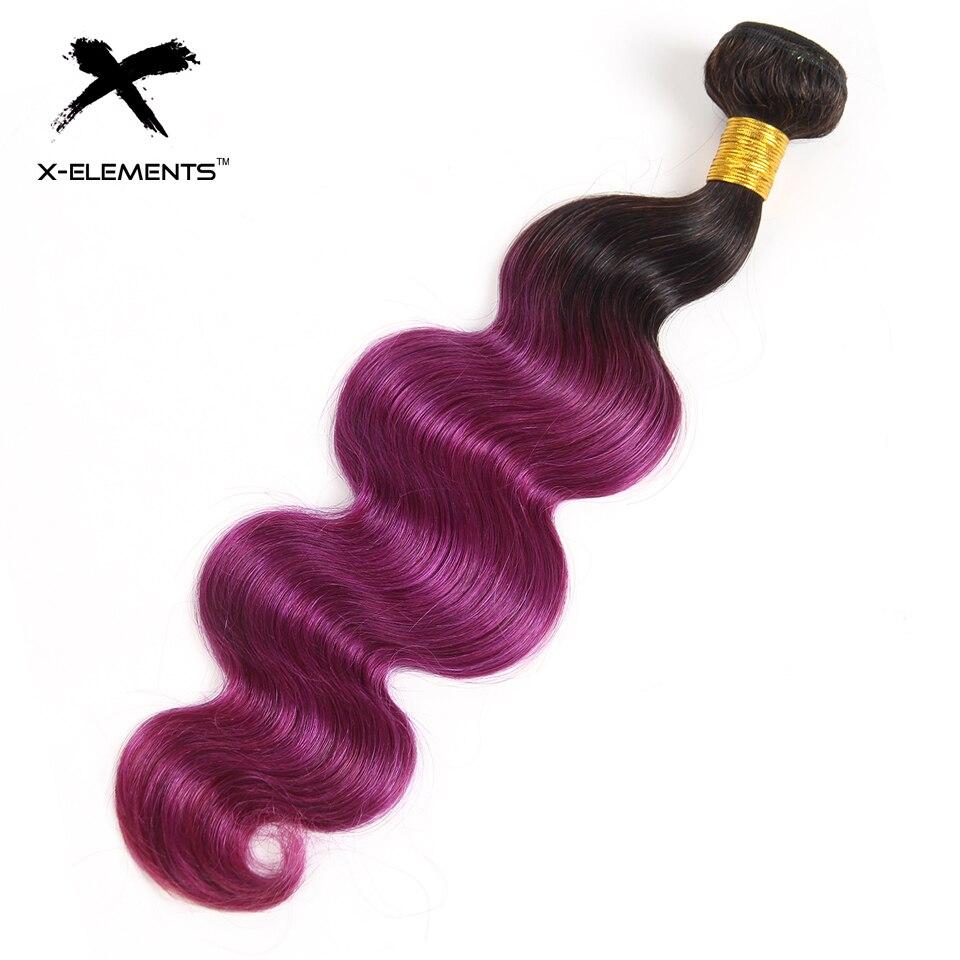 X-Elements Brazilian Ombre Body Wave Hair Bundles T1B 30 Burgundy 39J Purple Colored Human Hair Weave Non-Remy Hair Extensions (3)
