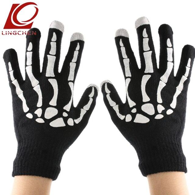 9e567415bc8c98 Telefon Tablet Finger Spitze Touch Screen Handschuhe Skelett Smart Warme  Winter Baumwolle Handschuh Handschuh Für Männer