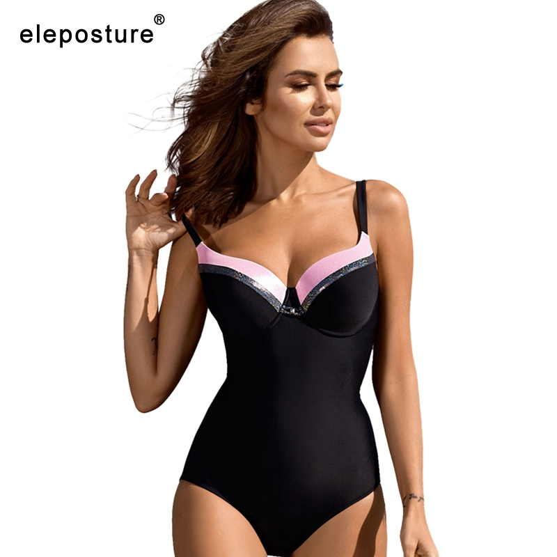 Image 4 - 2020 Black One Piece Swimsuit Plus Size Swimwear Women Bodysuit Push Up Monokini Swimsuits Vintage Retro Bathing Suits BeachwearBody Suits   -