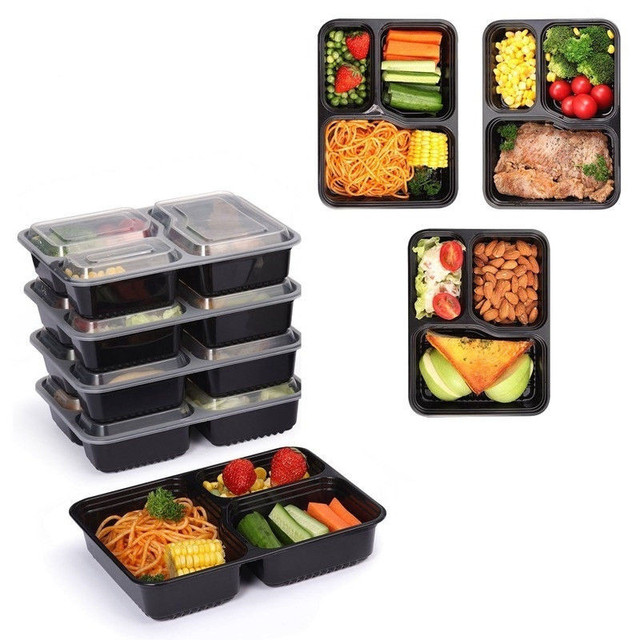 3 Compartment Food Storage Containers with Lids plastic Lunch Box