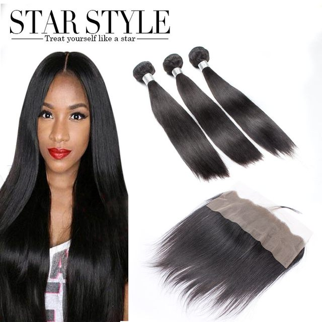 Malaysian Virgin Straight weave 3PCS Bundles with 1PC 4X13 Lace Frontal Closure Star Style Unprocessed Human Hair Free Shipping
