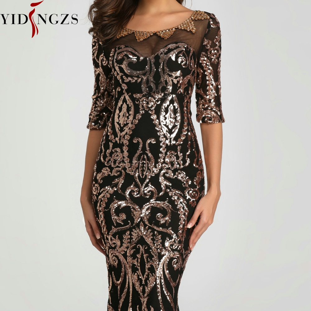 YIDINGZS Sequins Evening Party Dress 2020 Half Sleeve Beads Formal Long Evening Dresses YD603 4