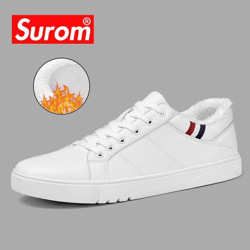 SUROM 2018 primavera nuevos hombres zapatos Casual zapatos transpirable resistente al desgaste zapatos cómodos verano blanco encaje Toe Round up plana Snekaers