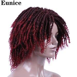Image 2 - קצר סינטטי פאות עבור נשים יוניס שיער 14 רך ראסטות פאת שיער Ombre שחור באג סרוגה צמות פאות חום עמיד פאות