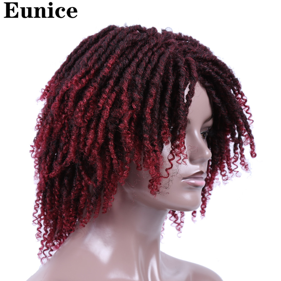 Image 2 - Short Synthetic Wigs For Women Eunice Hair 14'' Soft Dreadlocks Hair Wig Ombre Black Bug Crochet Braids Wigs Heat Resistant Wigs-in Synthetic None-Lace  Wigs from Hair Extensions & Wigs