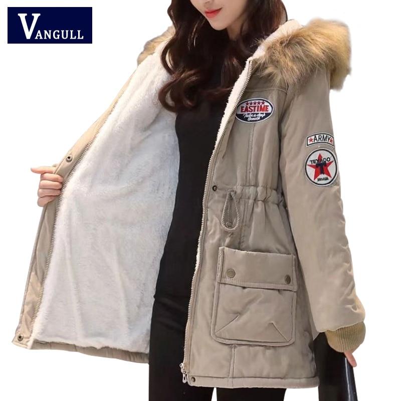 Vangull Hooded Warm Winter Coat Women 2018 Slim Plus Size Thick Jacket Black Long Cotton   Parkas   Mujer Letter Casaco Overcoat